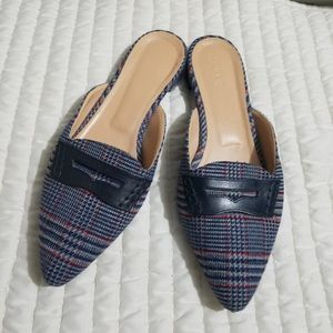 J.Crew Tweed Plaid Loafer Mules Size 9